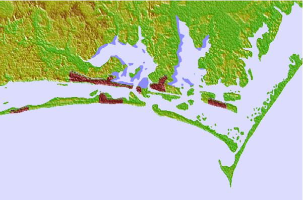 Tide stations located close to Beaufort Inlet Channel Range, North Carolina