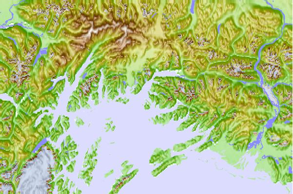 Tide stations located close to Busby Island, Valdez Arm, Alaska