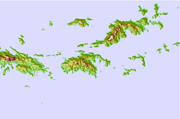 Virgin islands relief map