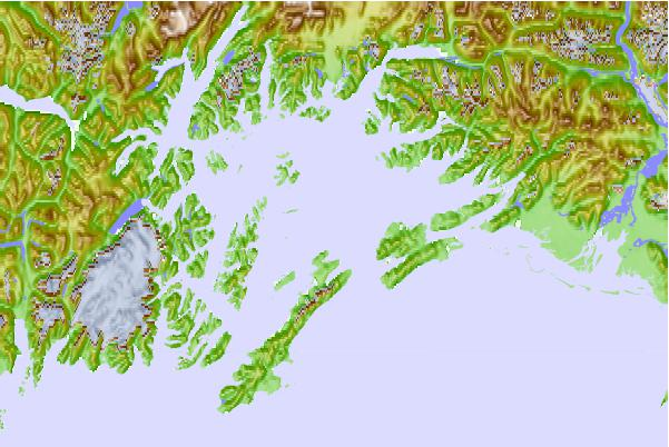 Tide stations located close to Eshamy Lagoon, Alaska