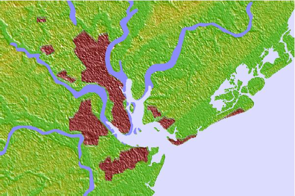 Tide stations located close to Hobcaw Point, Wando River, South Carolina