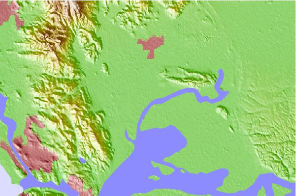 Tide stations located close to Joice Island, Suisun Slough, Suisun Bay, California