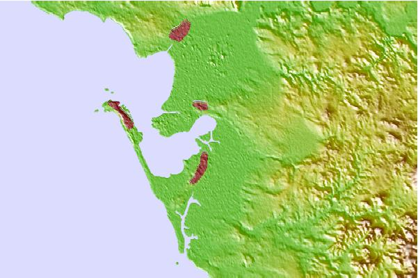 Use this relief map to navigate to tide stations surf breaks and