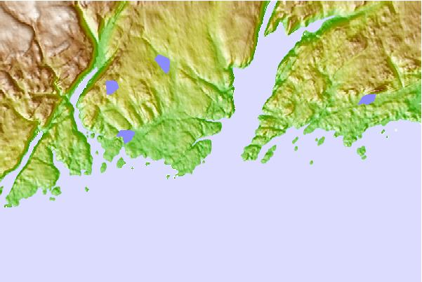 Tide stations located close to La Poile Bay, Newfoundland