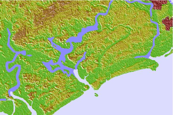 Tide stations located close to Leadenwah Creek, 3 miles above entrance, South Carolina
