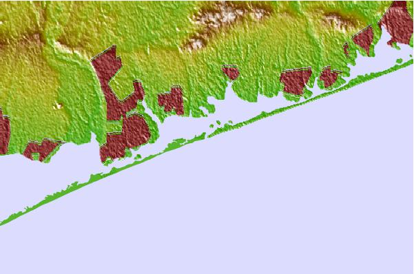 Tide stations located close to Moriches Inlet, Long Island, New York