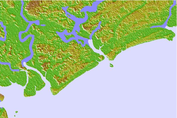 Tide stations located close to Ocella Creek, 2 miles above entrance, South Carolina