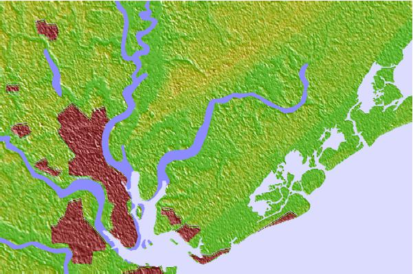 Tide stations located close to Parker Island, Horlbeck Creek, Wando River, South Carolina