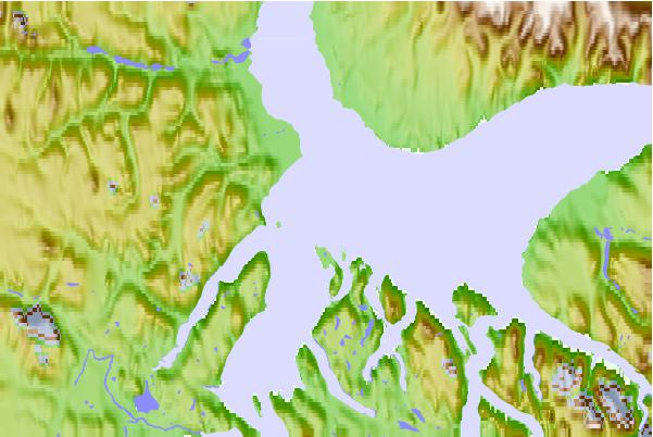 Tide stations located close to Pisiktarfik Island, Nunavut