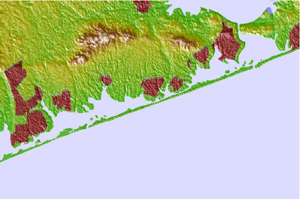 Tide stations located close to Potunk Point, Moriches Bay, Long Island, New York