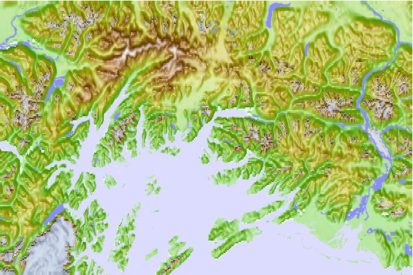 Tide stations located close to Rocky Point, Valdez Arm, Alaska