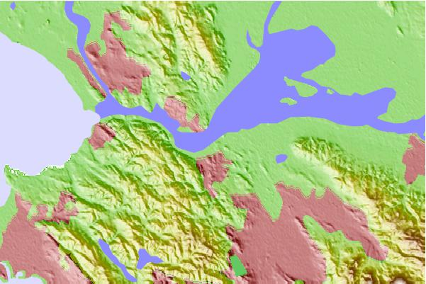 Tide stations located close to Suisun Point, Carquinez Strait, California