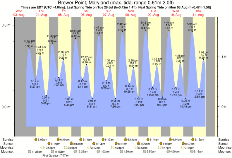 Brewer Point, Maryland tide times for the next 7 days