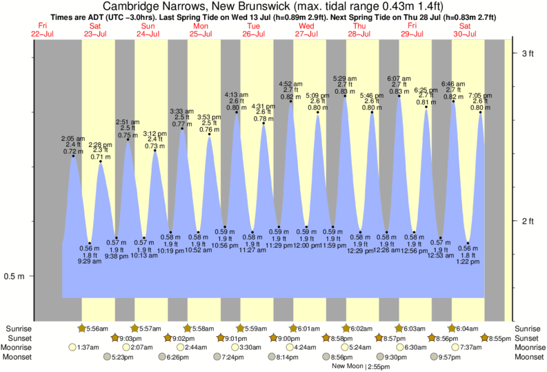 Cambridge Narrows, New Brunswick tide times for the next 7 days