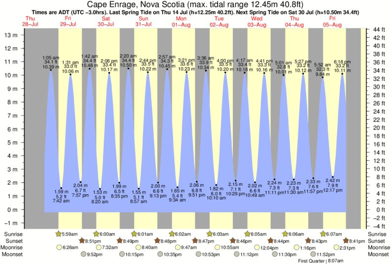 Cape Enrage, Nova Scotia tide times for the next 7 days