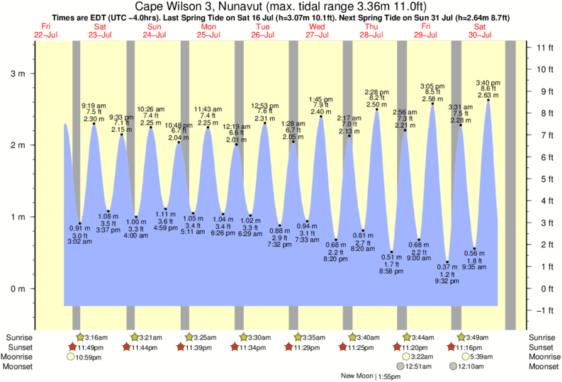 Cape Wilson 3, Nunavut tide times for the next 7 days