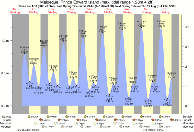 Malpeque, Prince Edward Island tide times for the next 7 days