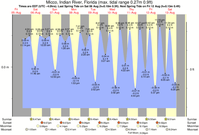 Micco, Indian River, Florida tide times for the next 7 days