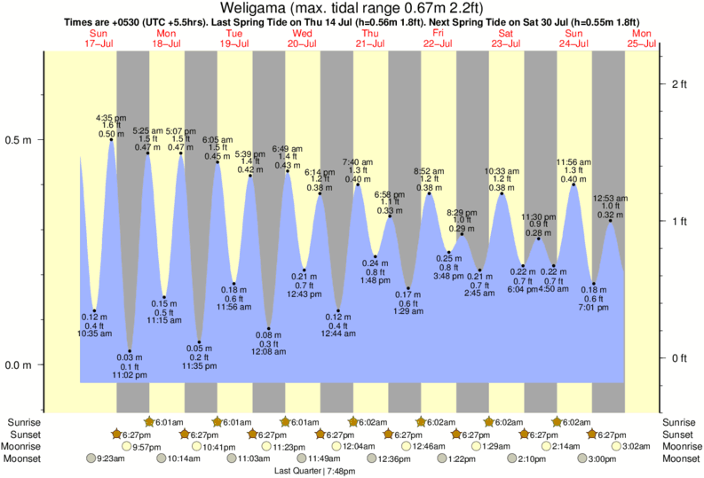 Weligama tide times for the next 7 days